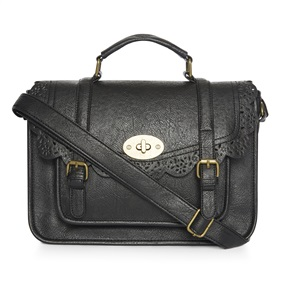 Brogue-detailed black satchel £8.00